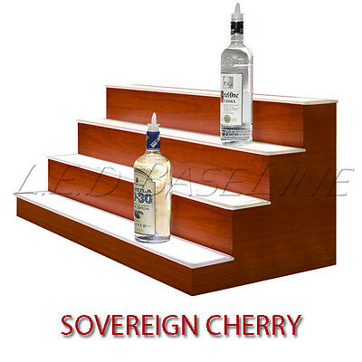 20 4 Tier Led Lighted Liquor Display Shelf - Cherry Finish