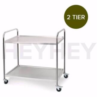 2 Tiers Round Tube Stainless Steel Kitchen Service Food Utility