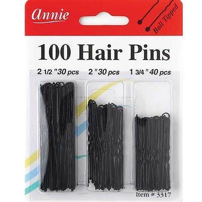 Annie 100 Hair Pins Ball Tipped Bobby Pin Hair Clips Assorted Size Black #3317