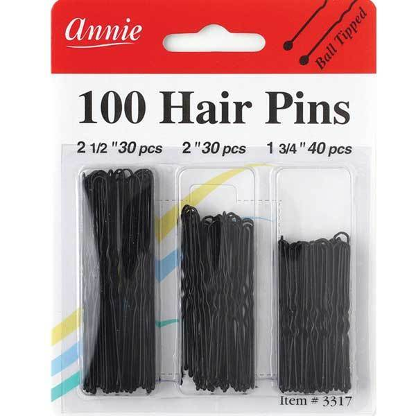 """ANNIE 100 HAIR PINS COMBO BLACK 1-3/4"""", 2"""", & 2-1/2"""" #3317 B"""