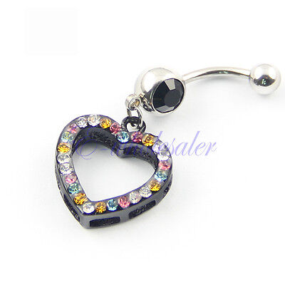 BLACK HEART COLORFUL CRYSTALS Navel Belly Button Ring Shield Cover Piercing (Heart Navel Shield)