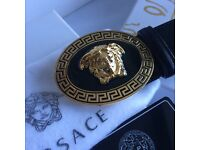 Circle round classin print black leather belt for him versace fantastic present boxed