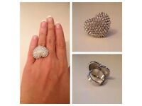 Silver Diamanté Crystal Heart Ring - New