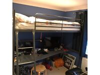 Ikea high bed with desk underneath