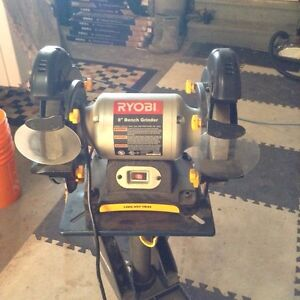 """Ryobi 8"""" bench grinder like new condition 60$ with stand 75$"""