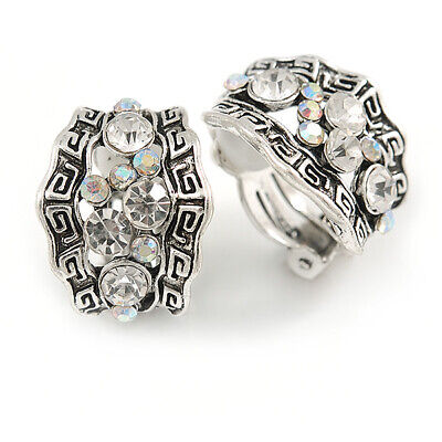 Vintage Inspired C Shape Crystal Textured Clip On Earrings In Aged Silver...