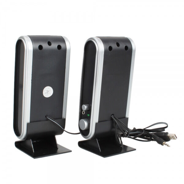 A Pair USB Power Wired Computer Speakers Stereo 3.5mm Jack F