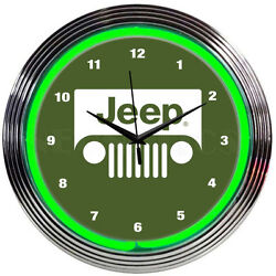 Jeep Neon clock sign 8JEEPG 15 Wall Clock NEW MAN CAVE LOOK Neonetics