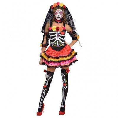 amscan Halloween Damenkostüm Day of the Dead Senorita Größe L 40