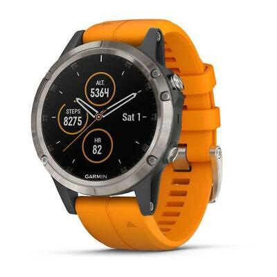 Garmin fenix 5 Plus, Sapphire, Ti w/Solar Flare Orange Band