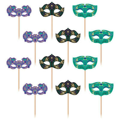 Masquerade Mask Cupcake Picks (NIGHT IN DISGUISE Food Cupcake Picks Party Table Decorations Masquerade)