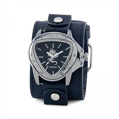 Nemesis Silver Dragon Watch with Black XL Stitch Leather Cuff Band Vintage