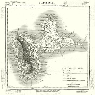 WEST INDIES. Guadeloupe. Tardieu 1830 old antique vintage map plan chart