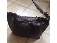 Brown soft leather handbag.
