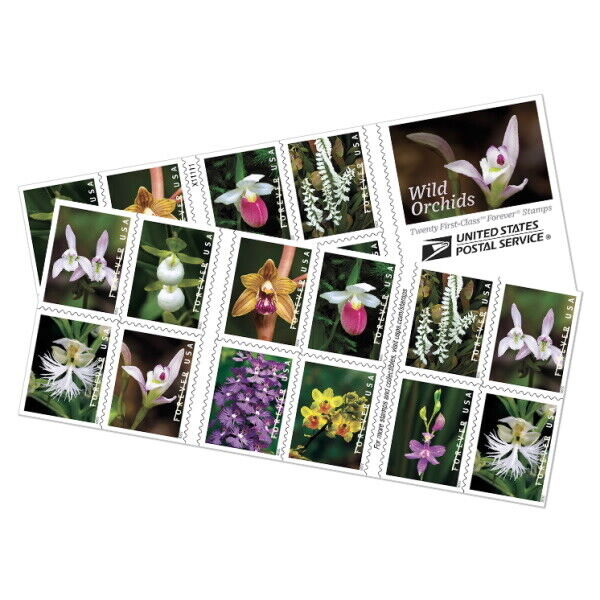 USPS New Wild Orchids Booklet of 20