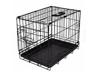 AS NEW JUMBO 42 X 26 X 30 INCHES LAZY BONES 2 DOOR FOLD FLAT BLACK DOG CRATE