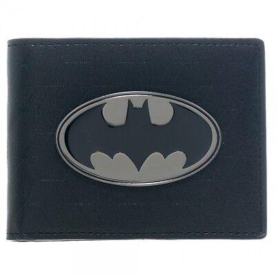 - Official Batman DC Comics Black Metal Logo Badge Bi-Fold Wallet Faux Leather