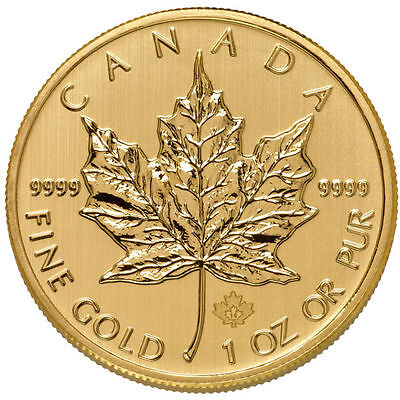 1 Oz Canadian Gold Maple Leaf Coin   9999 Pure  Varied Year  Bu