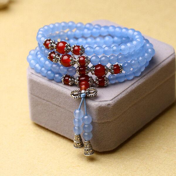 6mm stone Buddhist Blue Jade red Agate 108 Prayer Beads Mala Bracelet Necklace