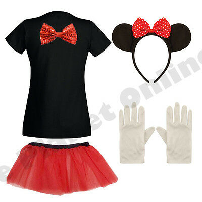 ADULT LADIES MINNIE MOUSE FANCY DRESS COSTUME & SKIRT MICKEY HEN NIGHT PARTY