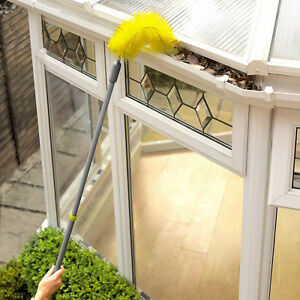 Flexible Gutter Cleaning Brush! Extending handle cleans gutters quickly & easily