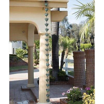 Lotus Green Decorative Pure Copper Outdoor 8.5 Feet Length Gutter Rain Chain