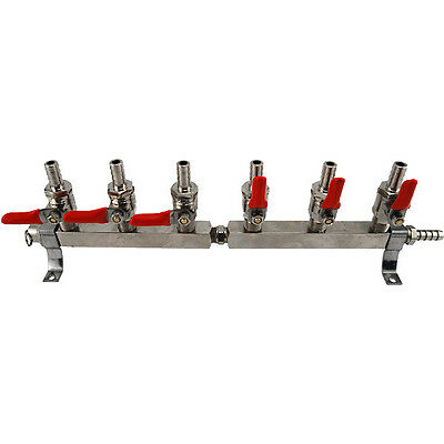 6 Way Co2 Distribution Bar W Safety For Draft Beer Regulator- Keg Bar Equipment