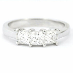14k White Gold 3-Stone Princess Diamond Ring (NEW, 1.0 tdw) 3649