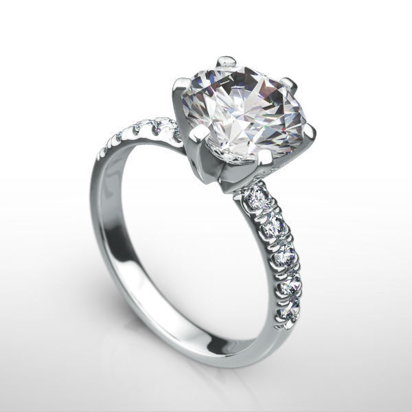 Diamond Round Shape Ring 4 Ct 14 Kt White Gold Earth Mined Solitaire W Accents