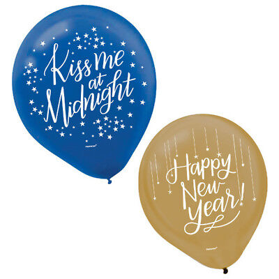 Midnight New Year's Eve Balloons 15ct-Blue and Gold-12