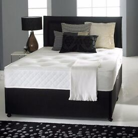 "MEMORY FOAM DIVAN BED SET + 10"" LUXURY DUAL MATTRESS+ PLAIN HEADBOARD (ALL SIZES)"