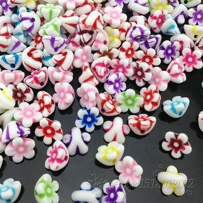 (100/200 pcs 11mm White Acrylic Cube Mini Flowers Letter Alphabet Beads spacer)