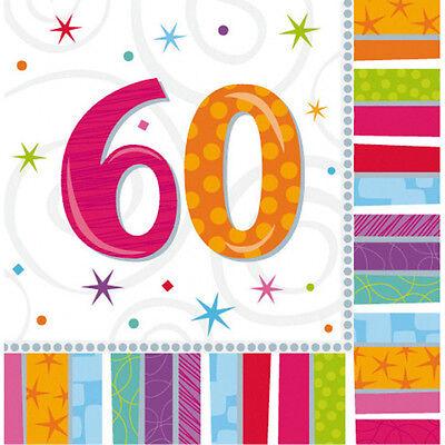 16 Servietten 60. Geburtstag mit Zahl  Deko Tischdeko  neu
