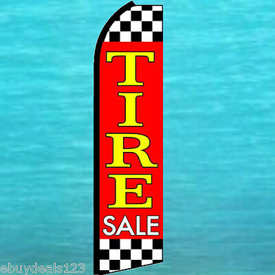 Tire Sale Checkers Flutter Feather Flag Swooper Vertical Advertising Sign Banner