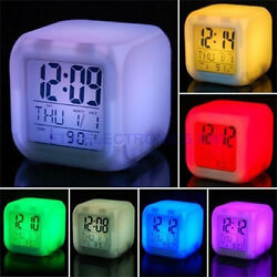Glowing 7 Color LED Change Digital Desk Alarm Clock Glowing Alarm Clock SW