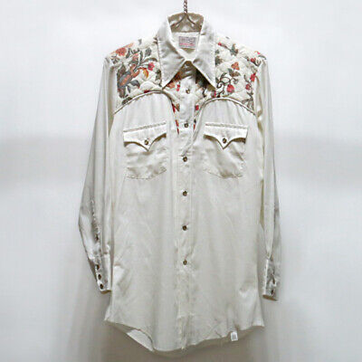 Vtg 70s H bar C ranchwear long tail Pearl Snap Western Shirt 15.5