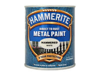 Hammerite White Hammered Paint 750ml Direct to Rust Metal Paint 8 Year Protection No Need to Prime