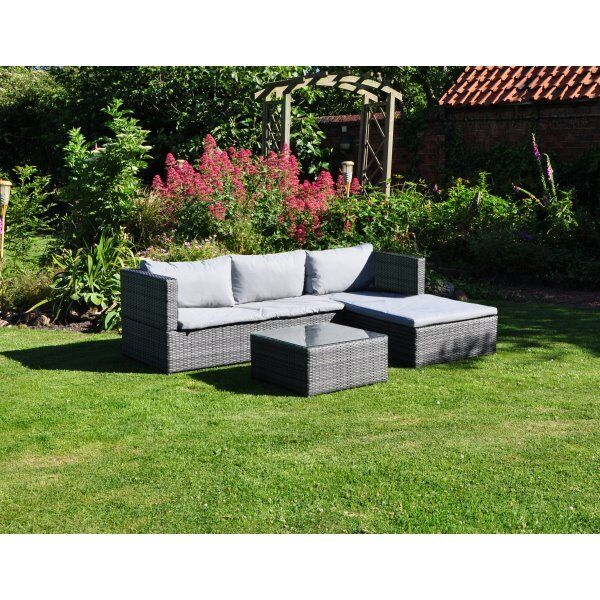 3 piece rattan effect garden furniture chaise sofa set with table - Garden Furniture Eastbourne