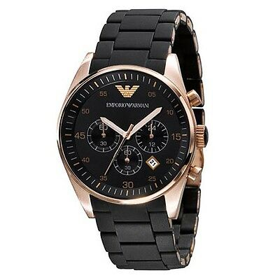 AR5905 Emporio Armani Men's Black and Gold Chronograph Dial Watch