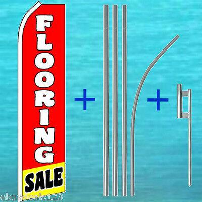Floor Mounting Kit - FLOORING SALE FLUTTER FLAG + 15' POLE MOUNT KIT Feather Swooper Banner Sign 1798