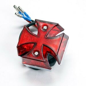 Universal-Chrome-Motorcycle-mini-MALTESE-CROSS-LED-Tail-Brake-Rear-Light-LP062