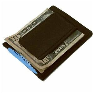 BLACK-LEATHER-STRONG-Mens-MONEY-CLIP-Credit-Thin-Wallet-340-NWT