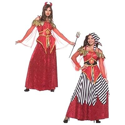 Damen Erwachsene 2-In-1 Doppelseitig Piraten & Teufelskostüm ()