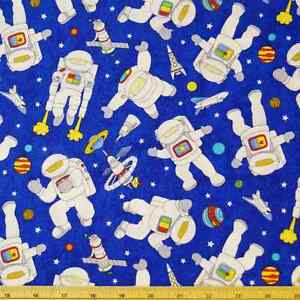 Blast off orbiting astronauts planets space spacecraft 100 for Space cotton fabric