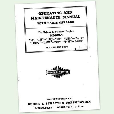 Briggs And Stratton 14fb 14fbc Operators Owners Service Repair Parts Manual Bs