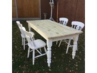 Farm house solid pine table and chairs