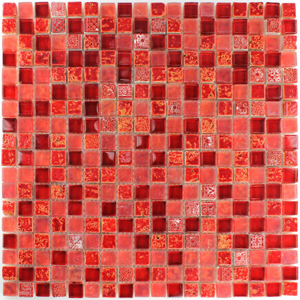 muster glas naturstein mosaik fliesen rot mix 15x15x8mm. Black Bedroom Furniture Sets. Home Design Ideas