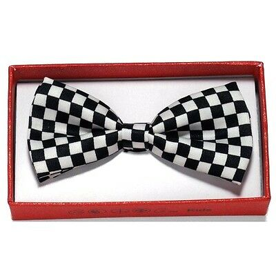 Black White Checker Toddler Bow Tie for Boy Girl Child School Picture Recital  (Black Tie For Girls)