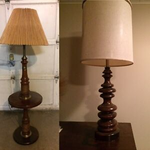 Set of two wooden lamps