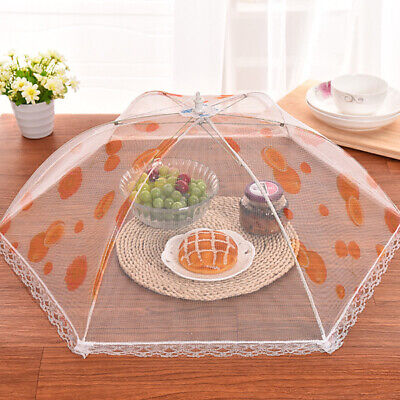 Food Cover Dish Umbrella Collapsible Protector Tent Keep Out Flies Bugs Mesh Net
